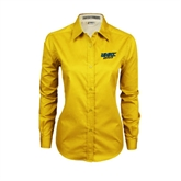 Ladies Gold Twill Button Down Long Sleeve-UMKC Roos