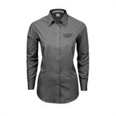 Ladies Grey Tonal Pattern Long Sleeve Shirt-UMKC Roos