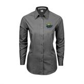 Ladies Grey Tonal Pattern Long Sleeve Shirt-UMKC Roos w/Roo