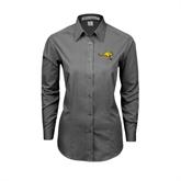 Ladies Grey Tonal Pattern Long Sleeve Shirt-Roo