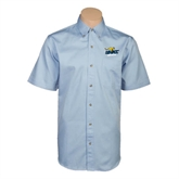 Light Blue Twill Button Down Short Sleeve-UMKC Roos w/Roo