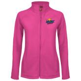 Ladies Fleece Full Zip Raspberry Jacket-UMKC Roos w/Roo