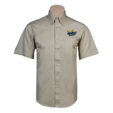 Khaki Twill Button Down Short Sleeve-UMKC Roos w/Roo