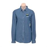 Ladies Denim Long Sleeve Shirt-UMKC Roos w/Roo