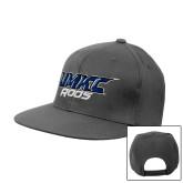 Charcoal Flat Bill Snapback Hat-UMKC Roos