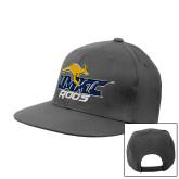 Charcoal Flat Bill Snapback Hat-UMKC Roos w/Roo