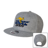 Heather Grey Wool Blend Flat Bill Snapback Hat-UMKC Roos w/Roo