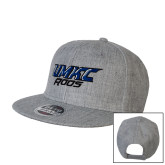Heather Grey Wool Blend Flat Bill Snapback Hat-UMKC Roos