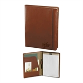 Cutter & Buck Chestnut Leather Writing Pad-UMKC Roos w/Roo Engraved
