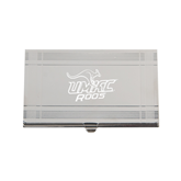 Crosshatch Silver Business Card Holder-UMKC Roos w/Roo Engraved