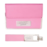 Business Card Case and Key Ring Set Pink-UMKC Roos Engraved