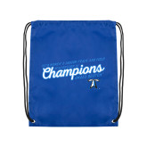 Royal Drawstring Backpack-2018 Womens Indoor Track and Field Champions - Script