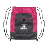 Nylon Pink Raspberry/Deep Smoke Pocket Drawstring Backpack-Primary Logo