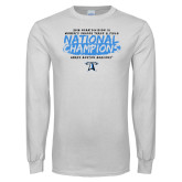 White Long Sleeve T Shirt-2018 Womens Indoor Track and Field Champions - Brush