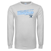 White Long Sleeve T Shirt-2018 Womens Indoor Track and Field Champions - Script