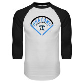 White/Black Raglan Baseball T Shirt-Beacons Baseball Stencil Diamond