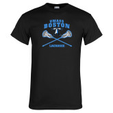Black T Shirt-UMass Boston Lacrosse Crossed Sticks