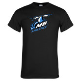 Black T Shirt-Italicized UMass Boston Athletics