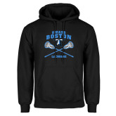 Black Fleece Hoodie-UMass Boston Lacrosse Crossed Sticks