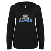 ENZA Ladies Black V Notch Raw Edge Fleece Hoodie-2017 Volleyball Champions