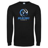 Black Long Sleeve T Shirt-Beacons Tennis Abstract Ball