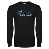 Black Long Sleeve T Shirt-UMass Boston Horizontal