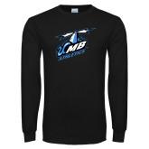 Black Long Sleeve T Shirt-Italicized UMass Boston Athletics