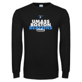 Black Long Sleeve T Shirt-UMass Boston Beacons Hockey Distressed