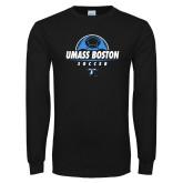 Black Long Sleeve T Shirt-UMass Boston Soccer Stacked