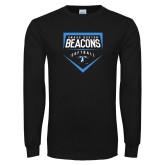 Black Long Sleeve T Shirt-Beacons Softball Plate