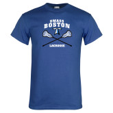 Royal T Shirt-UMass Boston Lacrosse Crossed Sticks