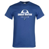 Royal T Shirt-UMass Boston Soccer Stacked