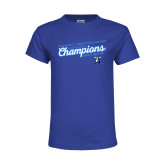 Youth Royal T Shirt-2018 Womens Indoor Track and Field Champions - Script