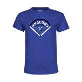Youth Royal T Shirt-Beacons Baseball Stencil Diamond