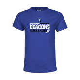 Youth Royal T Shirt-Beacons Track and Field Stacked