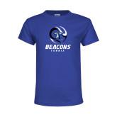 Youth Royal T Shirt-Beacons Tennis Abstract Ball