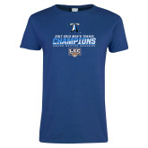 Ladies Royal T Shirt-Umass Boston 2017 2013 Mens Tennis Champs
