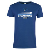 Ladies Royal T Shirt-Umass Boston 2016 Mens Ice Hockey Champs