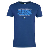 Ladies Royal T Shirt-2018 Womens Indoor Track and Field Champions - Brush