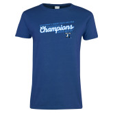 Ladies Royal T Shirt-2018 Womens Indoor Track and Field Champions - Script