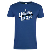 Ladies Royal T Shirt-UMass Boston Beacons Hockey Slanted