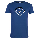 Ladies Royal T Shirt-Beacons Baseball Stencil Diamond