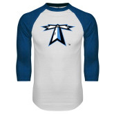 White/Royal Raglan Baseball T Shirt-Lighthouse