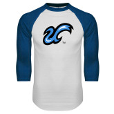 White/Royal Raglan Baseball T Shirt-The U