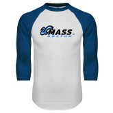 White/Royal Raglan Baseball T Shirt-UMass Boston Horizontal