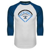 White/Royal Raglan Baseball T Shirt-Beacons Baseball Stencil Diamond