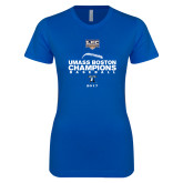 Next Level Ladies SoftStyle Junior Fitted Royal Tee-Umass Boston 2017 Baseball Champs