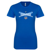Next Level Ladies SoftStyle Junior Fitted Royal Tee-Umass Boston Softball Champs