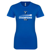 Next Level Ladies SoftStyle Junior Fitted Royal Tee-Umass Boston 2016 Mens Ice Hockey Champs