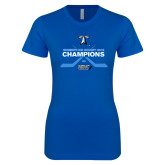 Next Level Ladies SoftStyle Junior Fitted Royal Tee-Umass Boston 2016 Woens Ice Hockey Champs